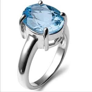 Oval Cut Blue Topaz Solitaire Cocktail Ring